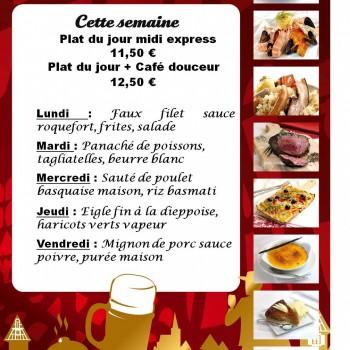PLATS DU JOUR DE LA SEMAINE DU LUNDI 24 OCTOBRE AU VENDREDI 28 OCTOBRE